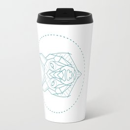 Geometric Blue Wolf Travel Mug