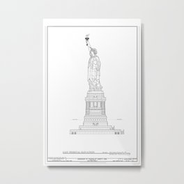 Statue of Liberty Blueprint Metal Print