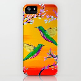 Yeloowlow and Orange with Hummingbirds iPhone Case