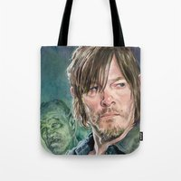 daryl dixon Tote Bags featuring Daryl Dixon by Mark Satchwill Art