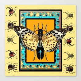 BUTTERFLY WESTERN YELLOW-ORANGE-TURQUOISE INSECT  PATTERNS Canvas Print