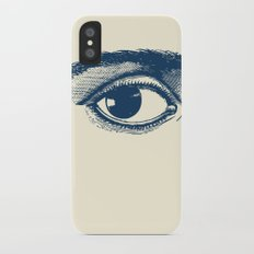 I see you. Navy Blue on Cream Slim Case iPhone X