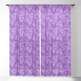 Puya Flowers Botanical Floral Pattern Violet Orchid Sheer Curtain