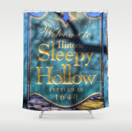 Sleepy Hollow Village Sign Shower Curtain
