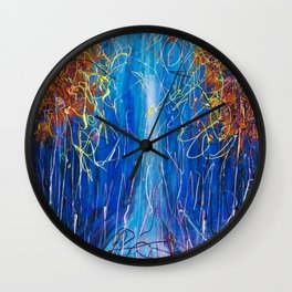 Impressionist Autumn -  ( inspired by Pollock ) Wall Clock