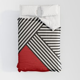 Black and white stripes with red triangle Comforters