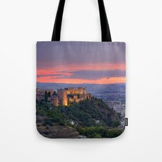 The alhambra and Granada city at sunset Tote Bag