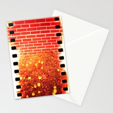 holga flowers x-processed with flowers and brick Stationery Cards