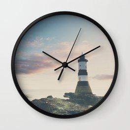 Penrose Lighthouse at sunrise Wall Clock