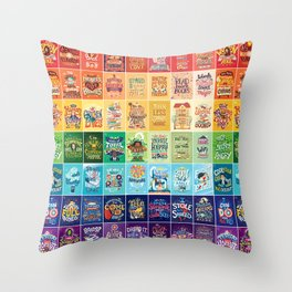 Rainbow of Posters Throw Pillow