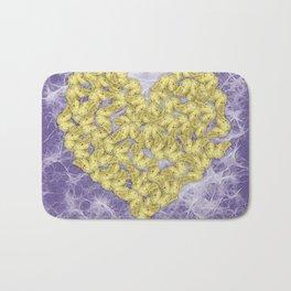 Gold butterflies on ultraviolet fractal texture Bath Mat