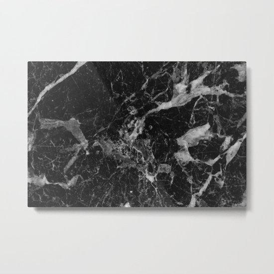 Black and Gray Marble Pattern Metal Print
