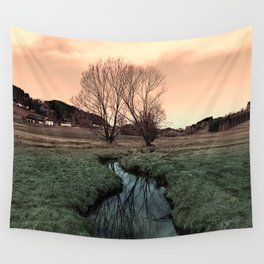 A stream, dry grass, reflections and trees II | waterscape photography Wall Tapestry