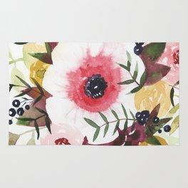 Burgundy Blush Watercolor Floral Rug
