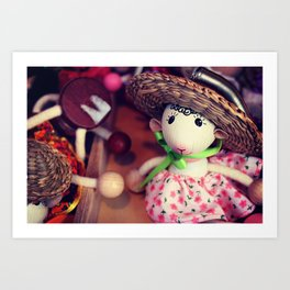 Wooden doll on the Christmas market Art Print