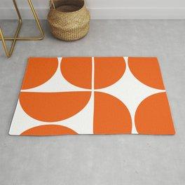 Mid Century Modern Orange Square Rug