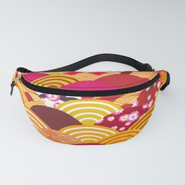 pattern scales simple Nature background with japanese sakura flower, rosy pink Cherry, wave Fanny Pack