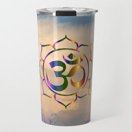 Trees Clouds Om Travel Mug