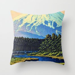 Mount Fuji - OSHINO FUJI - Kawase Hasui Throw Pillow