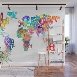 Typography Text Map of the World Wall Mural