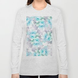Modern teal gray chic romantic roses flowers Long Sleeve T-shirt