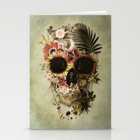 garden Stationery Cards featuring Garden Skull Light by Ali GULEC