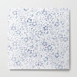 "Blue watercolor flower pattern ""Greta"" Metal Print"