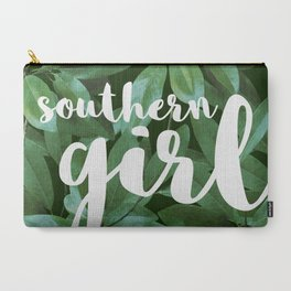 Southern Girl, Southern Magnolia Leaves, Dark Green Carry-All Pouch