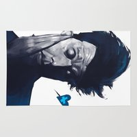 tom waits Area & Throw Rugs featuring Tom Waits - Blue Valentines by Brad Collins Art & Illustration