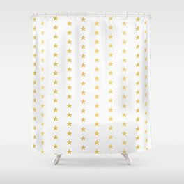 Luxe Gold Tiny Christmas Stars Confetti, Drawn Seamless Vector Pattern Shower Curtain