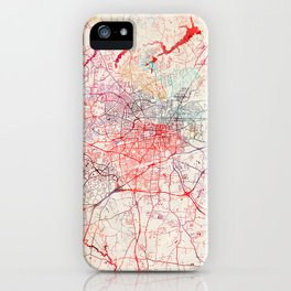 Greensboro map North Carolina painting iPhone Case
