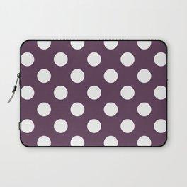 Dark byzantium - violet - White Polka Dots - Pois Pattern Laptop Sleeve