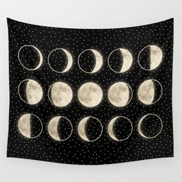 shiny moon phases on black / with stars Wall Tapestry