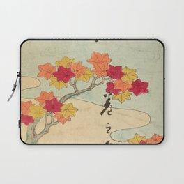 Vintage Japanese Maple Leaf and River Print Laptop Sleeve