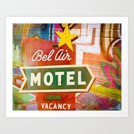 Bel Air Motel Graffiti and Neon Sign Art Print