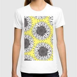 Yellow Sunflower in Black and White Hand Drawing T-shirt