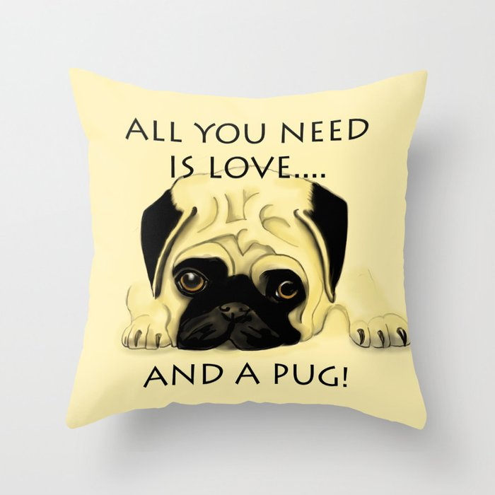 Love and a Pug Throw Pillow