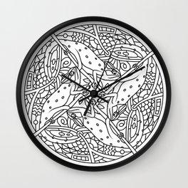 B&W Chameleon Mandala Wall Clock