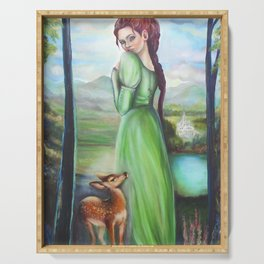 Bernadette and a fawn, oil paintinting on canvas Serving Tray