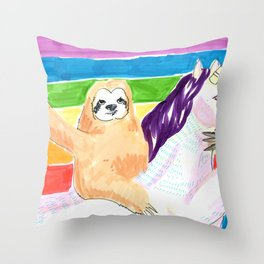 sloth and unicorn in rainbow Throw Pillow