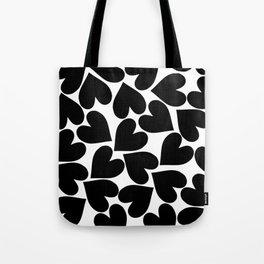 Black Hearts Pattern Tote Bag