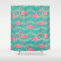 flamingo Shower Curtains featuring Flamingo by Julia