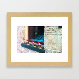 Gnomes in a Row Framed Art Print