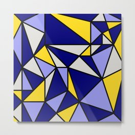 Geometric Scandinavian Design II - Navy, Blue, Yellow and White Metal Print