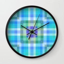 Geometric Blue and Green Wall Clock
