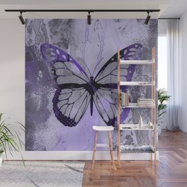 Abstract Butterfly Art Ultraviolett Colors Wall Mural