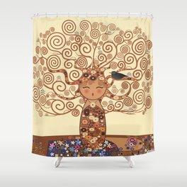 Kokeshi Tree of life Shower Curtain