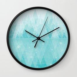 Geometric Lake Mountain IV - Winter Wall Clock