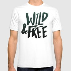 Wild & Free x Olive Green MEDIUM Mens Fitted Tee White