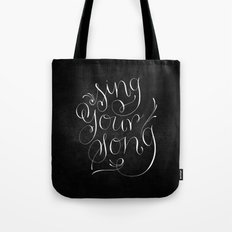 Sing Your Song // White on Black Tote Bag